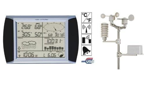 Stazione Meteorologica Velleman Professionale con Interfaccia PC Termometro Igrometro Orologio DCF Touchscreen Meteo Sensore Sonda