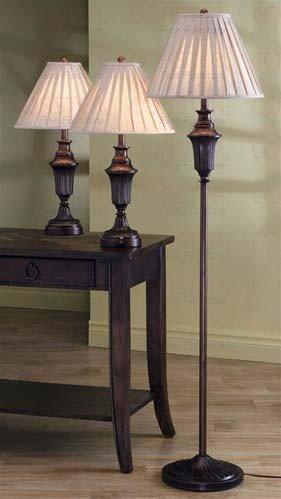 3pc Table & Floor Lamps Set in Dark Brown Finish