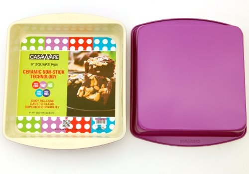 Casaware Ceramic Coated Nonstick 9-Inch Square Pan (Cream/Purple)