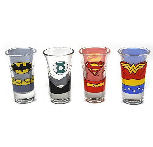 Justice League Of America Characters Set Of 4 Shot Glasses