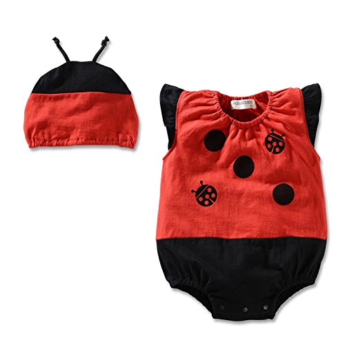 [Yanzi6 Baby Unisex Fruit Watermelon Melon Pineapple Bodysuit Hat Cap (S:1-3 Months, Ladybird)] (Fruit Hat Lady)