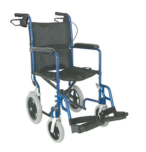 Duro-Med Lightweight Transport Chair with 12 Inch Wheels, Royal Blue