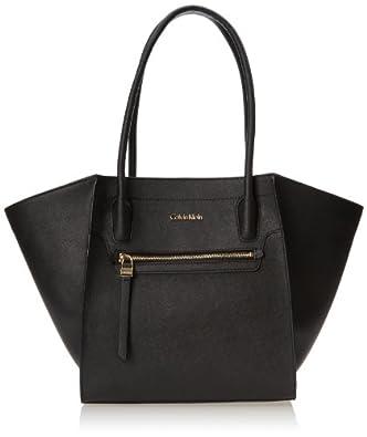 Calvin Klein Key Item Saffiano Tote H4AA12FZ Shoulder Bag,Black/Gold,One Size