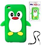 BUKIT CELL Green Penguin Silicone Soft Case Cover for IPOD TOUCH 4 4G 4TH GENERATION (ITOUCH 4) + Free WirelessGeeks247 Detachable Neck Strap / Lanyard