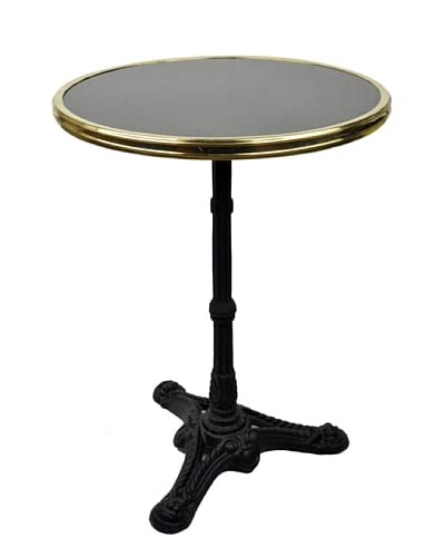 Bonnecaze Absinthe & Cuisine French Marble and Iron Bistro Table, Black Marble