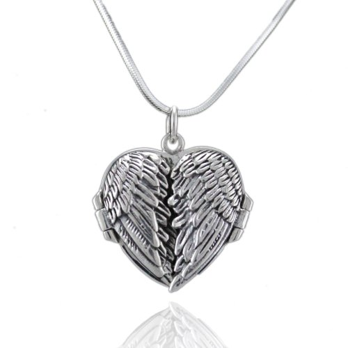 WithLoveSilver Solid Sterling Silver 925 Charm Angel Wings Heart Love Locket Pendant (White) with 18