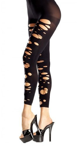 Costume Adventure Women's Black Scary Halloween Ripped Spandex Footless Leggings