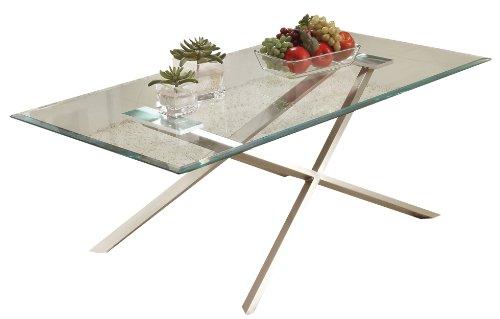 Cheap Acme 80048 Seble Glass Top Coffee Table, Chrome Finish (B0082A1D2O)