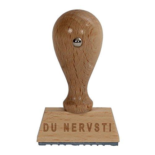 bütic divertimento timbro timbro in legno/Fun hs4010con scritta o testo desiderato V1 DU NERVST!