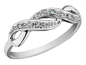 Infinity Diamond Promise Ring in 10K White Gold, Size 6
