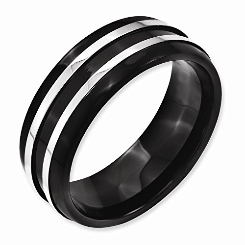 Men'S Stainless Steel 8Mm Black Ip-Plated Brushed & Polished Band
