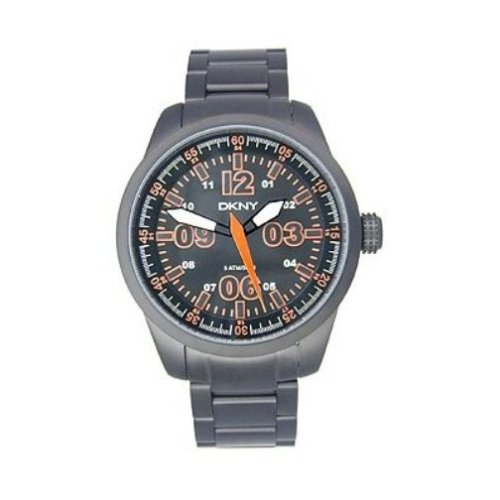 DKNY NY1318 Gents Back Stainless Steel Watch with Black Dial  &  Orange Hands  &  Indexes