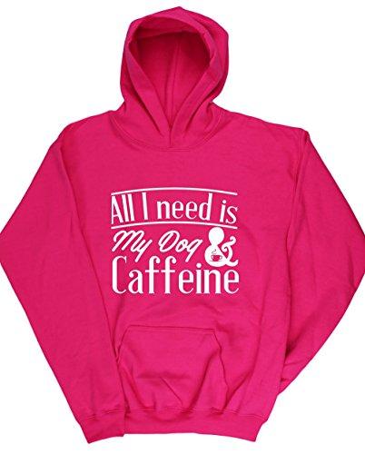 hippowarehouse-all-i-need-is-my-dog-caffeine-kids-unisex-hoodie-hooded-top