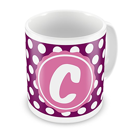 Coffee Mug Monogram C Purple Polka Dots - Neonblond