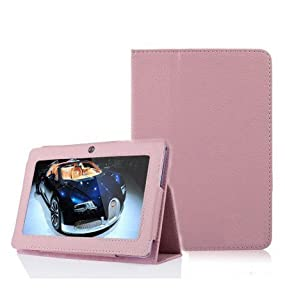 Wisedeal Universal Textured Slim Fit Folio Stand Leather Case Cover for 7 Inch Android Tablet(Q88) (Pink) from Wisedeal