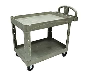 Rubbermaid Commercial Heavy-Duty 2 Shelf Utility Cart, Lipped Shelves, Medium, Beige, 500 Pound Capacity (FG452088BEIG)