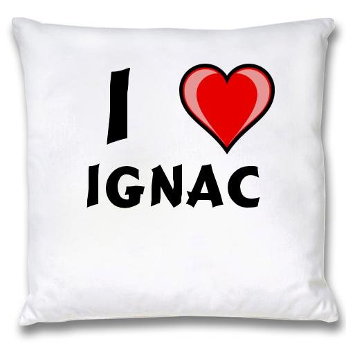 White Cushion Cover with I Love Ignac (first name/surname/nickname) first love