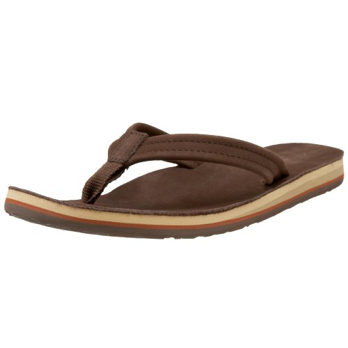 Brown Leather Flip Flops For Women front-692358