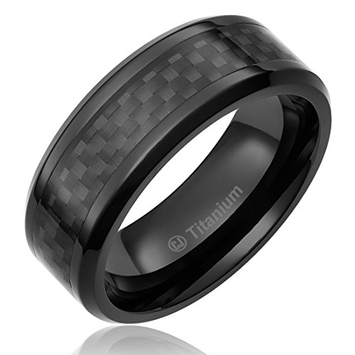 8MM Mens Titanium Ring Wedding Band Black Plated with Black Carbon Fiber Inlay [Size 13] (Carbon Fiber Stainless Steel Ring compare prices)