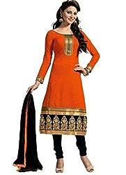 Shree Ashapura Creation Women Georgette Chanderi Dress Material ( Orange )