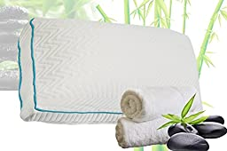 Relax Home Life - Best Premium 70% Bamboo Pillow With Shredded Memory Foam and Cool Removable Cover (Queen)