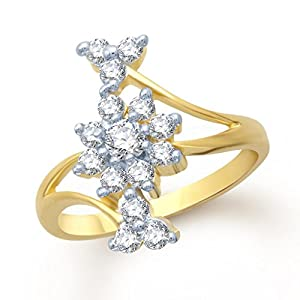 Meenaz Amazing Beauty Flower Gold And Rhodium Plated Cz Ring FR105 For Women