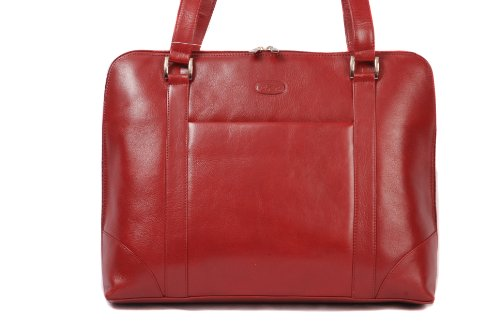 Dark Red burgundy leather large shoulder handbag work bag with 3 sided zip by Hansson