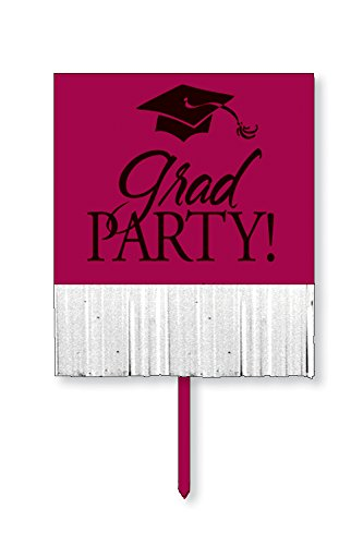 Creative Converting Yard Sign with Fringe, Burgundy Grad