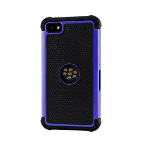 Gearonic AV-5326DPUIB 2-Piece Hybrid Rugged Hard PC Soft Silicone Back Case Cover for BlackBerry Z10 - Non-Retail Packaging - Blue