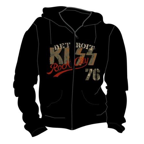 KISS -Detroit Rock- men's black zipped hoodie (X-Large)