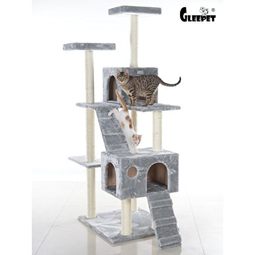 Gleepet gp78700622 cat tree with ramp 70 inch silver for Cat tree steps