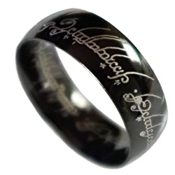 Funny product Tengwar Script Men's Ring Comfort Fit Black IP Stainless Steel Size 9 10 11 12 13