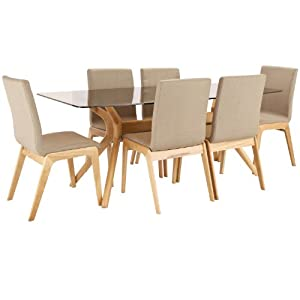Portofino Dining Table Set Solid Oak Glass Top W 180cm 6 Chairs A