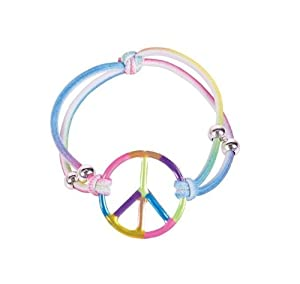 Girls Elastic Rainbow Peace Bracelets Girls Party Favors: Set of 12