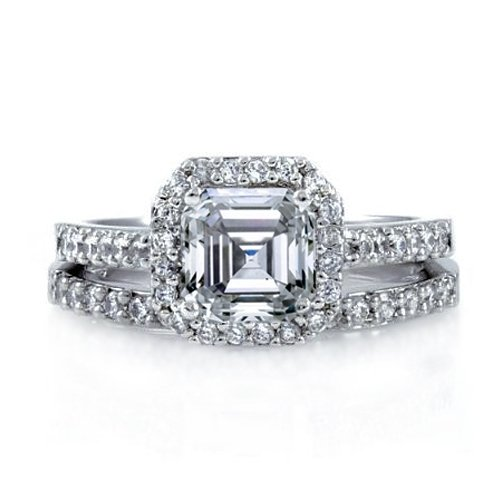 Bling Jewelry Antique Style CZ Diamond Asscher Engagement Ring Wedding Set size 8