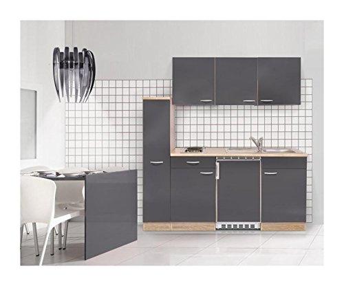 Mebasa-MEBAKB180GAK-Einbaukche-hochwertige-Kchenzeile-inkl-Einbaugerte-moderner-komplett-Kchenblock-180-cm-in-Sonoma-Eiche-Grau-Hochglanz