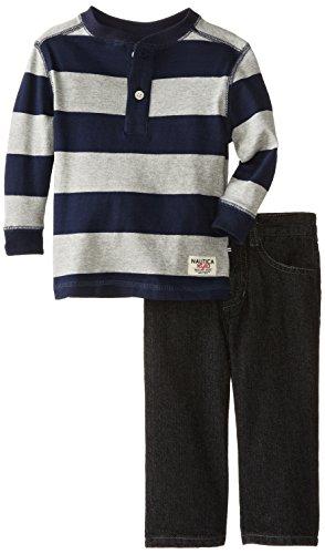 Nautica Baby-Boys Infant 2 Piece Stripe Woven And Denim Jean Set, Ash Heather, 24 Months front-1024655