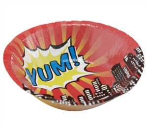 Ginger Ray Pop Art Superhero Party Paper Bowls, Mixed - 1