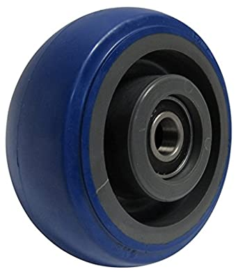 "RWM Casters Signature Premium Rubber Wheel, Precision Ball Bearing, 500 lbs Capacity, 5"" Wheel, Dia, 2"" Wheel, Width, 2-7/16"" Plate Length"