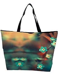 Snoogg Blue Serene Cute Flowers Waterproof Bag Made Of High Strength Nylon