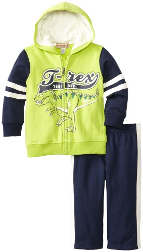 Kids Headquarters Baby-Boys Infant T-Rex Hoody Jog Set, Green, 12 Months front-738842