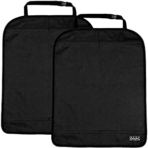Auto Seat Back Protector by Dot&Dot - Largest Luxury Car Kick Mats Fits Most Vehicles - Washable, Water Resistant Car Seat Covers Protects Your Car Seats from Moisture, Dirt, Stains and Scuff Marks (2 Pack, Black)