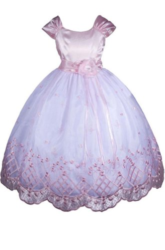 Amj Dresses Inc Girls Pink Flower Girl Easter Dress Size 4