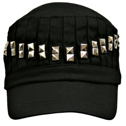 Black Military Style Cadet Hat With Pleated Studded Front