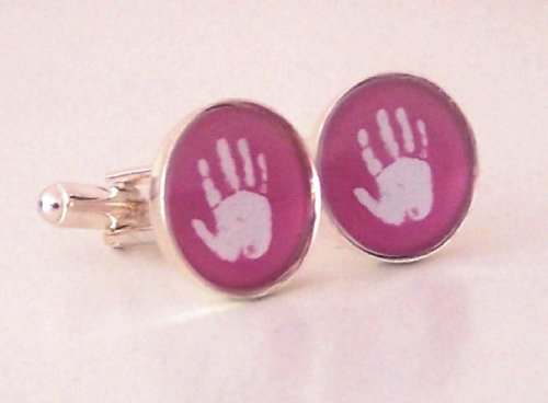 Handprint or Footprint Cufflinks - Ideal Fathers Day Gift - Baby hand or foot prints fused on to glass cufflinks