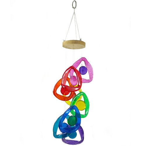 Wind chimes recycled glass bottle windchime rainbow colors for Glass bottle wind chimes