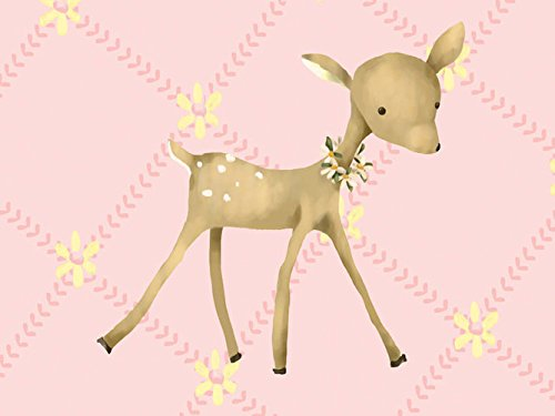 Oopsy daisy fancy fawn powder pink stretched canvas wall art by meghann o'hara, 24 by 18-inch