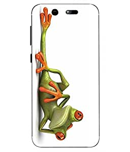 Case Cover Funny Frog Printed White Soft Back Cover For LYF EARTH 2