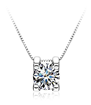 Celebrity Jewellery 925 Sterling Silver with Cubic Zirconia Cube Diamond Pendant Box Chain Necklace for Women