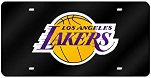 Los Angeles Lakers Laser Cut Black License Plate by Hall of Fame Memorabilia
